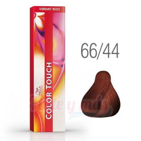 Wella Tinte Color Touch 66/44 Rubio Oscuro Intenso Cobrizo 60ml.